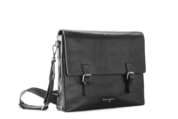 Statesman Men's Leather Messenger Bags In Black & Brown Color