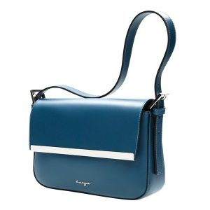 Shadows Leather Pochette - Women's Shoulder Bags - Black, Grey, Teal Color