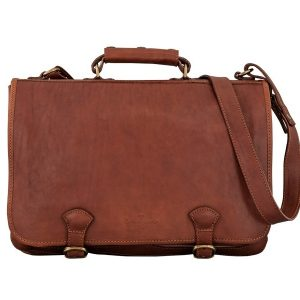 Cavalry Leather Business Bag For Men - Antique tan, Brown Color