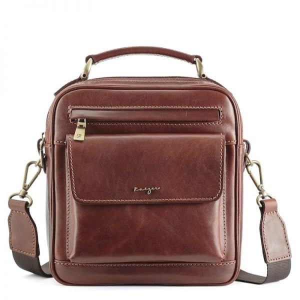 Statesman Leather Cross Body Bag For Men - Black, Brown Color