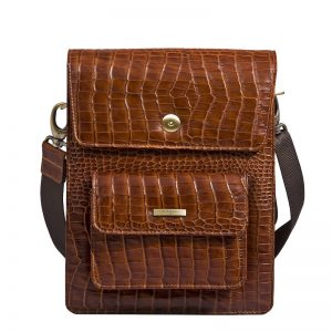 Wittet Croco Men's Messenger Bag made of Italian Leather in brown Color KWC 1309