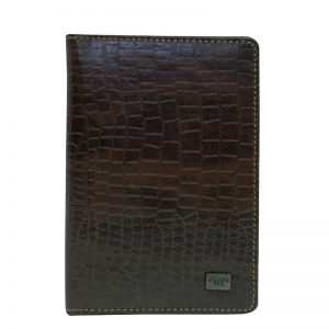 Wittet Croco Leather Passport Sleeve - Brown Color - Pure Leather
