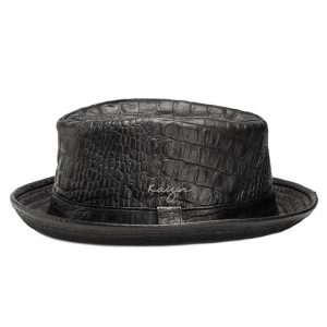 Leather Hat (Fedora croco) - Black, Brown Color