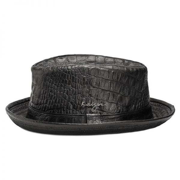 Leather Hat (Fedora croco) - Black, Brown Color
