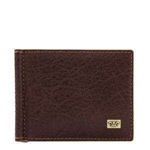 Ridge Men's Leather Money Clip Wallet- Black, Dark brown, Brown Croco Color