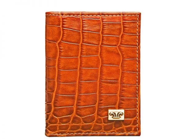 Wittet Croco Leather Business Card Holder in black & brown color KWC922