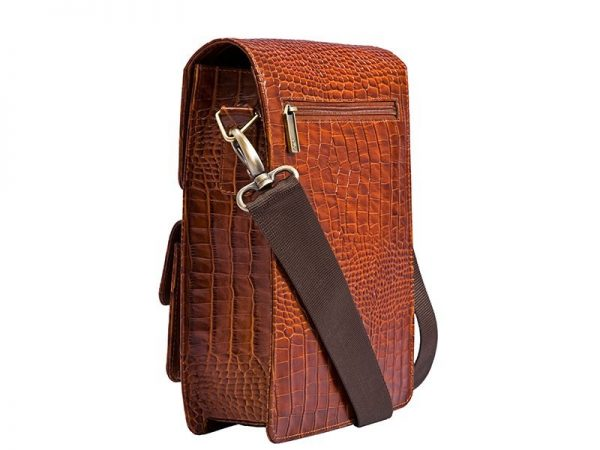 Witter Croco Men's Messenger Bag made of Italian Leather in brown Color KWC 1309