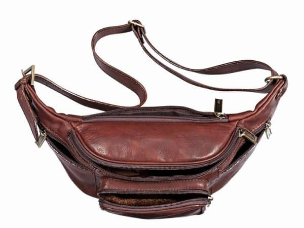 Cavalry Leather Travel Waist Pouch in Brown Color
