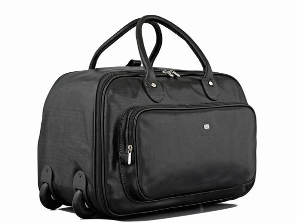 Statesman Overnighter Leather Trolley Bag in Black Color