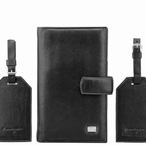 Travel Leather Wallet with 2 full grain leather luggage tags in black color