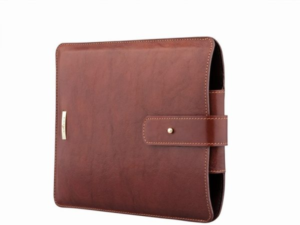 Full grain calf leather iPad Slipcase in brown color.