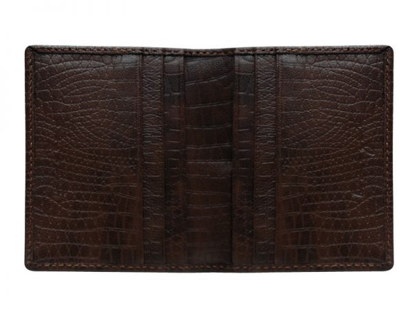 Wittet Croco Leather Card Holder For Men - Brown Color - Italian Leather