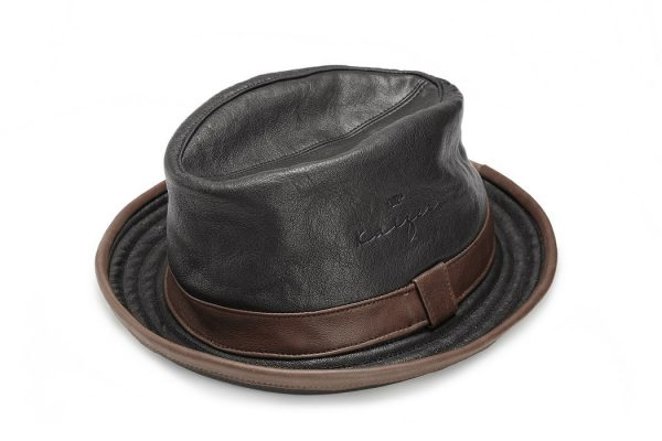 Leather Hat (Fedora) - Black, Brown Colors