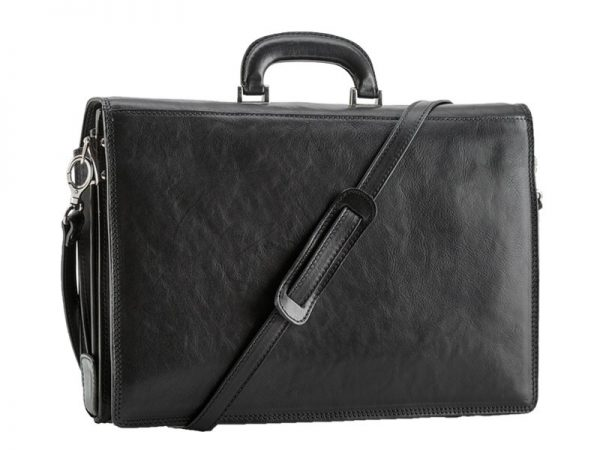 Cavalry Men's Leather Business Bag - Antique Tan, Black Color
