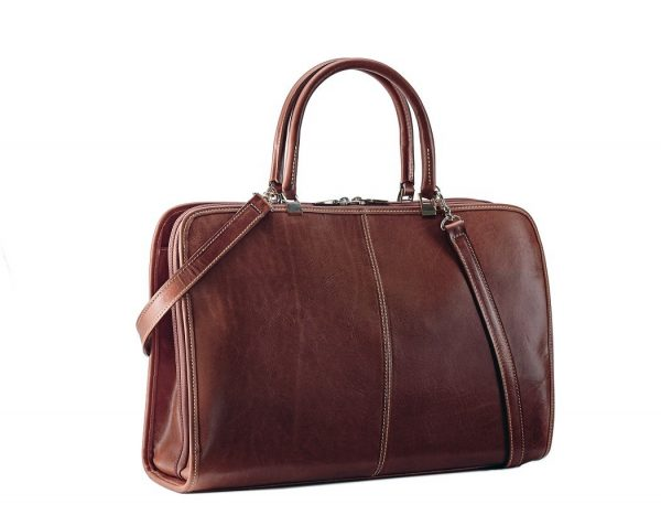 Absolute Unisex Leather Document Bag - Black, Brown Color